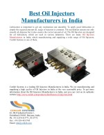 Best Oil Injectors Manufacturers in India