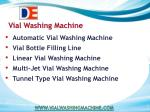 Vial Washing Machine Solution For Pharmaceutical
