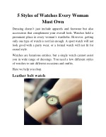 5 Styles of Watches Every Woman Must Own