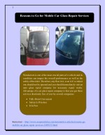 Reasons to Go for Mobile Car Glass Repair Services