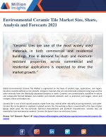 Environmental Ceramic Tile Market Challenges, Trends and Outlook