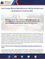 Gear Pumps Market Manufacturers, Market Analysis and Development Trends by 2021