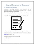 Required Documents for Home Loan