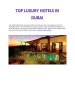 Top Luxury Hotels in Dubai