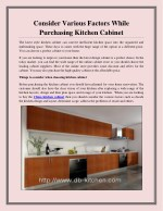 Consider Various Factors While Purchasing Kitchen Cabinet