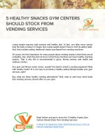 5 Healthy Snacks Gym Centers Should Stock From Vending Services
