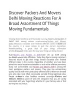Discover Packers And Movers Delhi Moving Reactions For A Broad Assortment Of Things Moving Fundamentals