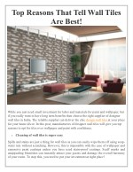 Top Reasons That Tell Wall Tiles Are Best!