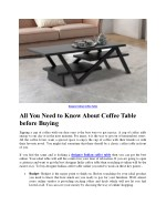 All You Need to Know About Coffee Table before Buying