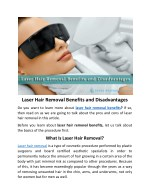 Laser Hair Removal Benefits and Disadvantages