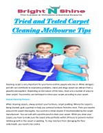 Tried and Tested Carpet Cleaning Melbourne Tips