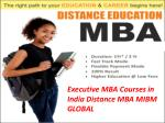 Executive MBA Courses in India Distance MBA