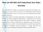 How can ISO 9001:2015 Help Boost Your Sales Activities