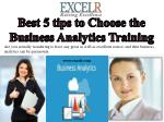 Best 5 tips to Choose the Business Analytics Training