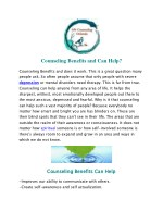 Counseling Benefits and Can Help?