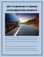 Why It Is Important to Compare Quotes When Moving Interstate