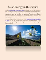 Solar Energy in the Future