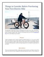 Things to Consider Before Purchasing Your First Electric Bike
