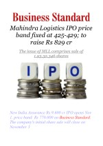 Mahindra Logistics IPO price band fixed at 425-429; to raise Rs 829 cr