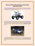 Electric, Gas ATVs for Kids and Super Fast Pocket Bikes, Motorcycle For Youth