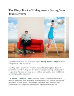 The Dirty Trick of Hiding Assets During Your Texas Divorce