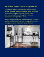 Whirlpool Service Center in Hyderabad|Best service