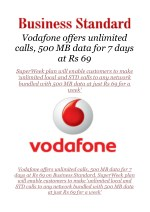 Vodafone offers unlimited calls, 500 MB data for 7 days at Rs 69