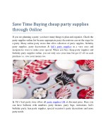 Save Time Buying cheap party supplies through Online