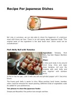 Recipe For Japanese Dishes