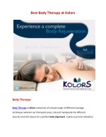 Body therapy services | Body therapy massage | Body therapy wellness center