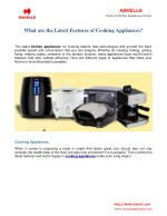 What Are The Latest Features Of Cooking Appliances?