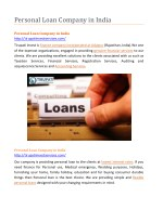Personal Loan Company in India