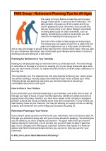 PWS Group - Retirement Planning Tips for All Ages