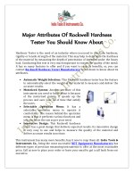 Major Attributes Of Rockwell Hardness Tester You Should Know About