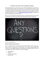 Questions You Need To Ask A Mortgage Company