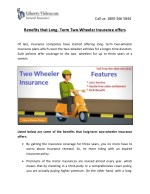 Benefits that Long- Term Two-Wheeler Insurance offers