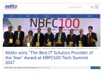 """Nelito wins """"The Best IT Solution Provider of the Year"""" Award at NBFC100 Tech Summit 2017"""