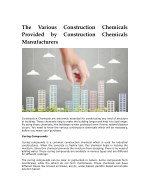 The Various Construction Chemicals Provided by Construction Chemicals Manufacturers