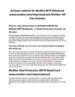 www.mcafee.com/mtp/retailcard Activate website for McAfee MIS Retailcard