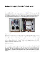 Reasons to open your own Laundromat