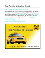 Taxi provider in udaipur travel