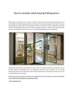 Tips to consider while buying folding doors