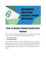 How To Restore Deleted Emails From Hotmail