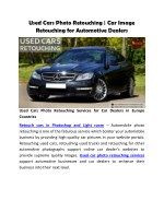 Used Cars Photo Retouching for Automotive Car Dealers Websites in Europe