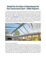 Should You Use Glass Or Polycarbonate For Your Conservatory Roof - Tuflite Polymers