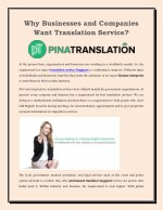 Pinatranslation is a professional translation agency offering a full range of translation services to businesses and ind