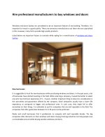 Hire professional manufacturers to buy windows and doors