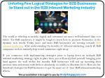 Unfurling Few Logical Strategies for B2B Businesses to Stand out in the B2B Inbound Marketing Industry