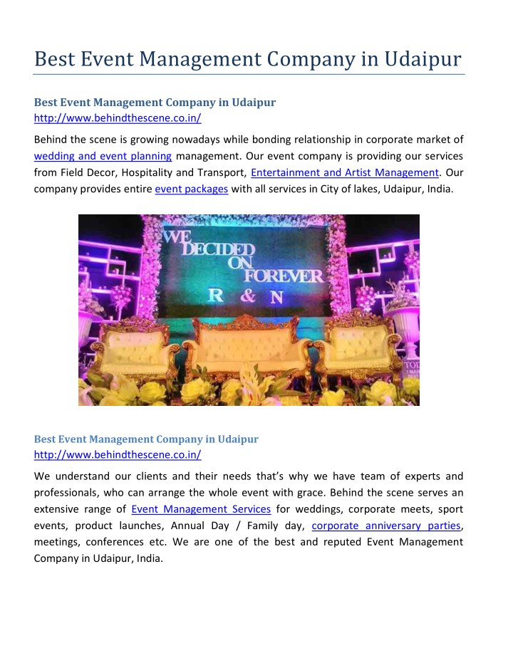 best event management company in udaipur n.