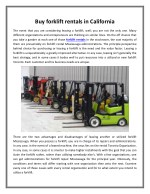 Buy forklift rentals in California